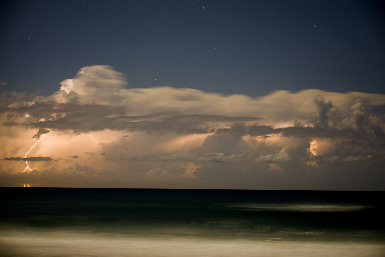 Lightning storm out to sea.