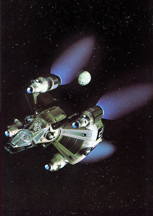 Creative Computer Graphics (1984)     A still from The Last Starfighter (1984) this 'Gunstar' model is comprised of almost 400,000 Polygons, this was four times more than had ever been attempted with any other computer generated model and each frame took 5 minutes or more to render on the most powerful computer available, a Cray X-MP.