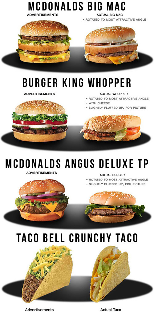 jaymug:  Fast food advertising vs. reality