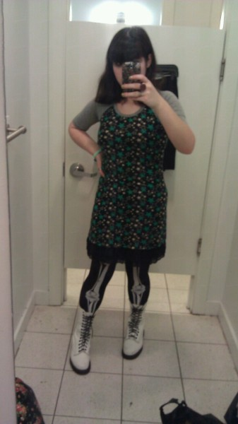 Today's outfit! I got this dress in Japan and I haven't worn it in a while so I figured I'd make it more exciting with my skeleton tights. And I wore the Doc Martens since I was worried that it might rain but I didn't want to wear rainboots in the mall.