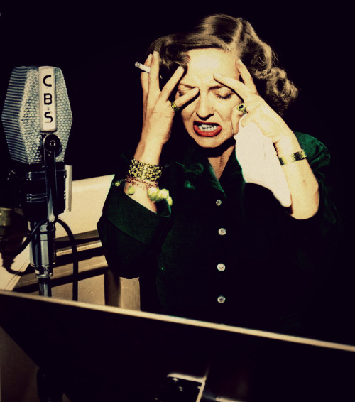 Bette Davis during a radio performance. (1947-8?)