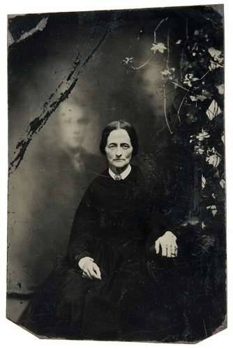 ca. 1870's, [double exposure, tintype portrait of a woman accompanied by a spirit] via Luminous Lint, from the Andrew Daneman Collection of American Tintypes