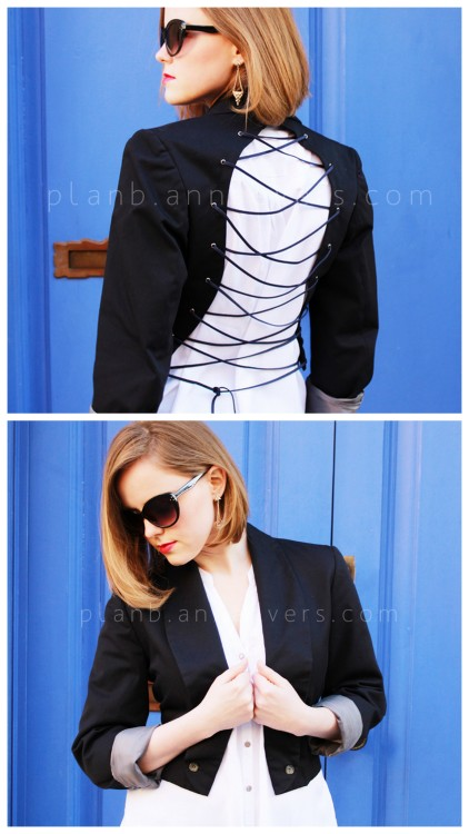 DIY Lace Up Back Jacket Tutorial from Plan B Anna Evers here. This jacket uses eyelets/grommets so you need an eyelet/grommet setting tool like these here. They are pretty cheap and I have one and use it on shower curtains, canvas bags, tee restyles etc… For more jacket restyles go here: truebluemeandyou.tumblr.com/tagged/jacket