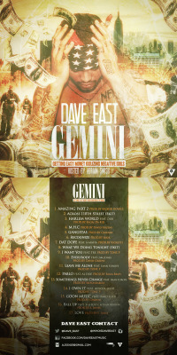 "DAVE EAST ""G.E.M.I.N.I (GETTING EASY MONEY IDOLIZING NEGATIVE IDOLS)""COVER_ARTWORK. (2013)*Tool : Adobe Photoshop & After Effect CS 3"