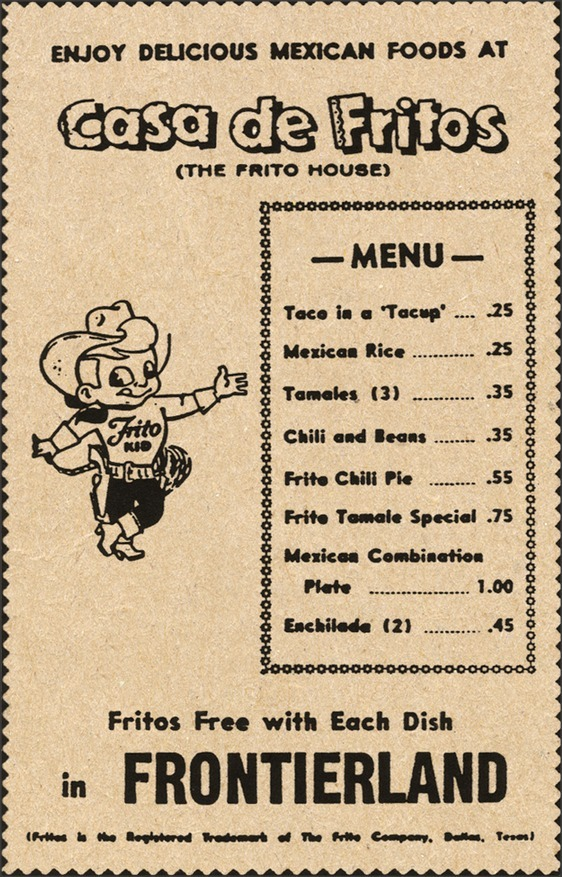 "Disneyland's ""The Frito House"" menu in Frontierland, 1955 miehana"