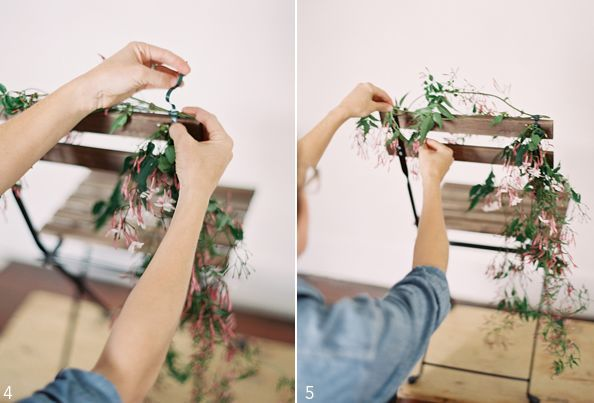 fuckyeahweddingideas:  (via Once Wed) Supplies Floral Tape Vines(we used Jasmine) Scissors Ribbon Directions 1. Make two bunches of vines 2. Secure longest branch to one side of the chair 3. Attach with floral tape 4. Secure the second bunch horizontally with floral tape 5. Drape the vines around the opposite edge of the chair 6. Tie a ribbon to conceal the floral tape