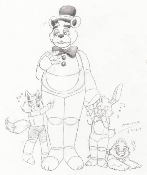 little-miss-cheesepuff:  Okay guys but IMAGINE THIS Freddy being a papa bear to a bunch of little animatronic toddlers ;w;