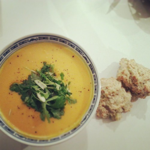 Classic autumm dinner with a twist. Spicy pumpkin soup with courgette scones for dunking and mopping of course. #food #comfort