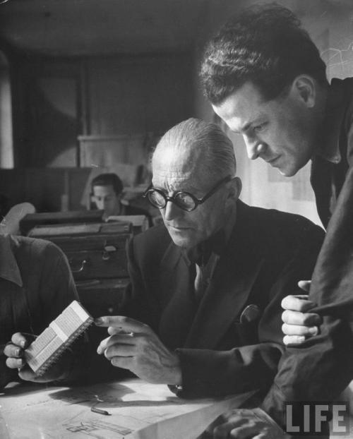 © nina leen - le corbusier and student working on project for french ministry of reconstruction - paris, france - 1946