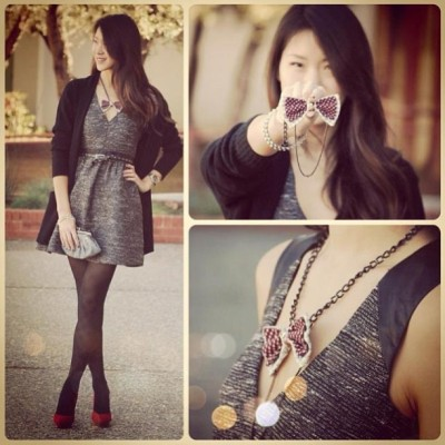 Repost from @thestylishgeek blog. Perfect vday outfit, classic, playful and chic with a splash of pop color. We love it! Check out her blog at www.thestylishgeek.com #ootd #vday #red #intwinedbows #intwined #necklace #chains #vdayoutfit #cute #instadaily #blog #blogger #womensfashion #womenswear #style #ootd