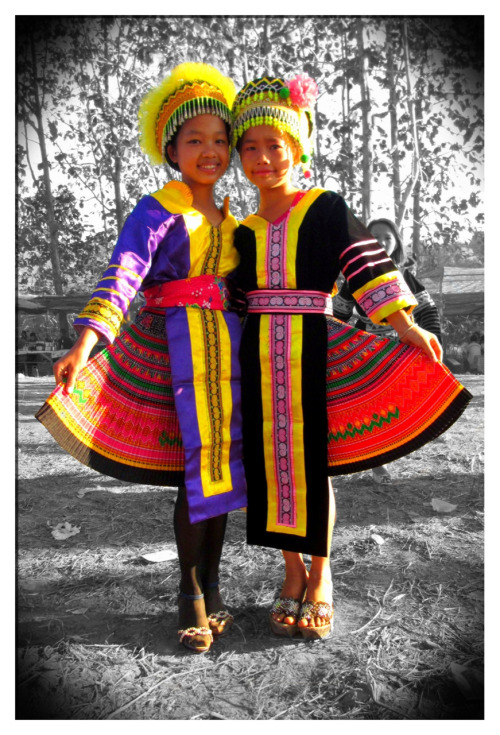 H'mong Girls in Luang Prabang, Laos  (point&shoot photo edited with Colorsplash)