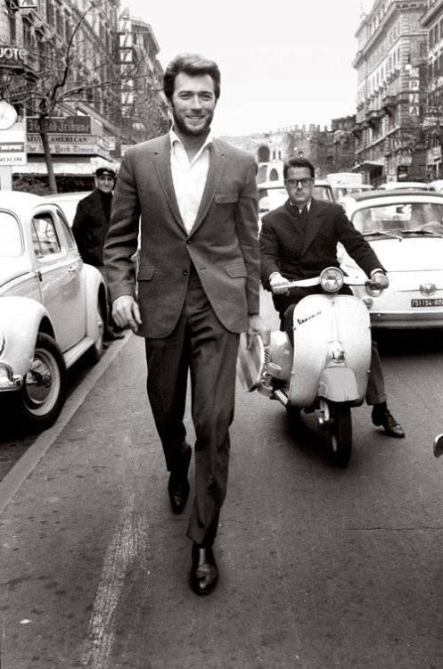 intersouls:   Clint Eastwood, c. 1960s  now you can tell by the way I use my walk  I'm a womans man  no time to talk