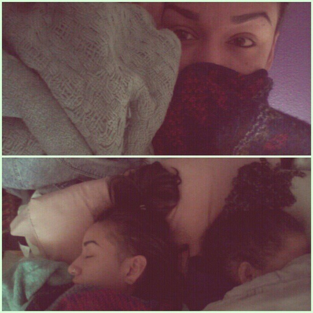 BED HEADS. Mornings with @elleexiste lol… She sleeps too long