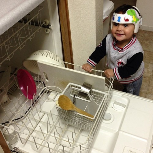Helping with the dishes.