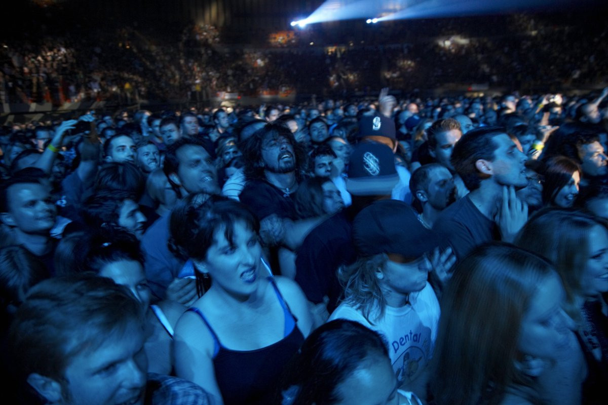 Dave Grohl in the pit at a Soundgarden concert.