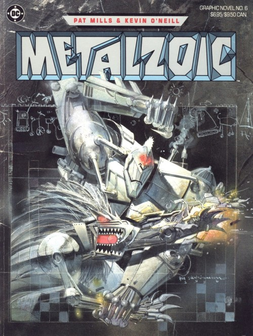 Classic cover by Bill Sienkiewicz to Metalzoic, DC Graphic Novel #6 by Pat Mills and Kevin O'Neill, 1986.