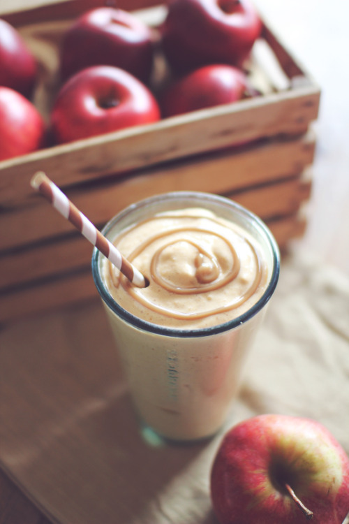 hollisgettinghealthy:  Caramel Apple Pie Protein Shake Ingredients: 1/2 cup cottage cheese 1 Scoop vanilla protein powder 1/2 cup Apple chopped fine, or 1/2 cup applesauce 1/2 tsp Caramel extract (or 2 tbs sugar free butterscotch pudding mix) 1/2 tsp Apple or pumpkin pie spice Dash Cinnamon 5-10 Ice cubes (Depending on how thick you like it, use less for a thinner consistency) 1/2-1 cup Water (Alter this according to desired consistency) 2-3 pkts Stevia (or 1/4 tsp sweetener of choice) Optional: 1/2 tsp xanthan gum 3, 1/2 tsp butter extract Nutritional info: 215 calories, 35g protein