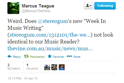 This week, I discovered that Stereogum have been doing a 'Week in Music Writing' feature since February, which looks lots like my weekly 'Music Reader'. Which is strange to see! It's not like aggregating music writing is a novel idea, though (come back, Semipoplife!). And Ms Pelly who's doing the Stereogum one, I guess, has different perspectives and tastes to me - we've actually only rarely included the same articles. So the more the merrier, really! ANYWAY! This week's music reader has links to: Chris Molanphy on the AC/DC Rule, Alec Baldwin vs Thom Yorke, The White Stripes' Elephant, John Harris on Thatcherism and music in Britain, Matthew Perpetua on The Knife, Mike Barthel on Real Housewives Of… vanity singles, etc.