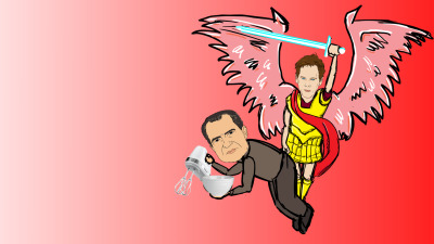 THIRTY-SEVEN is Richard Nixon.  We will remember him with BIRDIE-KEVIN.  He's more of an archangel but wings always mean birdie in our images.  Nixon will be mixin' with found objects on the second half of a red gradient.