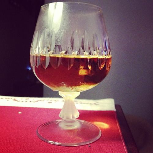 "B&B Ingredients: 1 oz Benedictine, 1 oz brandy. Pour brandy into a snifter, then use the back of a spoon to ""float"" the brandy on top (I'm not sure why). Can be served on the rocks or straight-up. Source: cocktails.about.com This is an after-dinner cocktail like the ferrari or grandfather, except instead of using amaretto this uses Benedictine, a French herbal-infused liqueur with a cognac base. Perfect on a cold winter night! You can also buy pre-mixed B&B made by the Benedictine company at the liquor store."