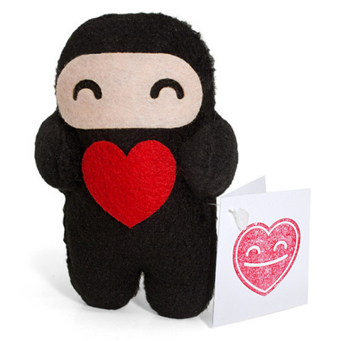 Love Ninja Wants To Be Your Valentine Available from now until February 14, this 4-inch handmade plush from Shawnimals even comes with a blank V-day card perfect for writing goopy romantic mush or drawing sassy anatomy pictures for your special someone. Get one for yourself or that special someone for just $15 from the Shawnimals shop.