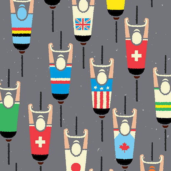 fuckyeahcycling:  (via Cycling Art Print World Road Race Championship Cyclists by gumo)