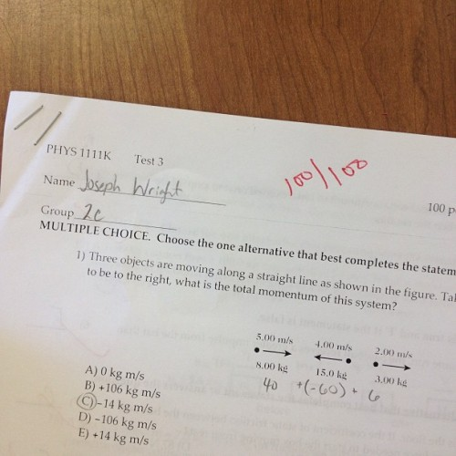 Check out dat 100 y'all! I did physics!!! :D (at GSU - Classroom South)