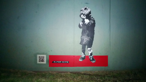 'Crying Boy' by Super Safe. Using QR codes with works now. 5 layer stencil.