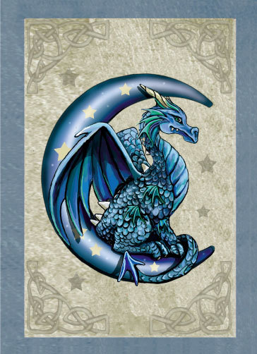 Blue Baby Dragon on Moon by Lisa Parker