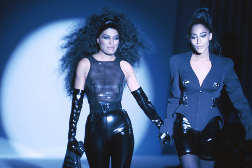 black-model-famous:  Diana Ross and Tracee Ellis Ross, Thierry Mugler Spring/Summer 1991