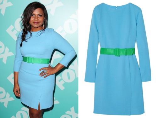 themindyprojectstyle:  Mindy Kaling attended the Fox upfront presentations last night wearing this blue and green belted dress. Jonathan Saunders Karla Belted Wool-Crepe Dress - $1105 Source: redcarpet-fashionawards.com