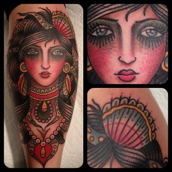 illustratedgentleman:  Queen of sea #matthouston #gastowntattoo #traditional #tattoos #tattoo #octopushair #shell #underthesea #downwhereitswetterthatswhereitsbetter