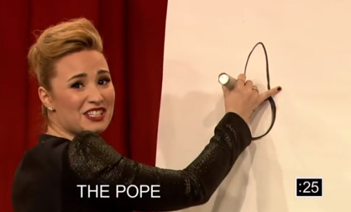 Demi Lovato's drawing of the Pope got slightly suggestive during Pictionary. [part one / part two]