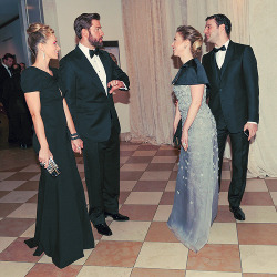 "jkrasweb:  John Krasinski, Emily Blunt, Chelsea Clinton and Marc Mezvinsky at the Costume Institute Gala for the ""Punk: Chaos to Couture"" exhibition at the Metropolitan Museum of Art in New York City.    After seeing this, don't y'all just want them to have a lifelong friendship?"