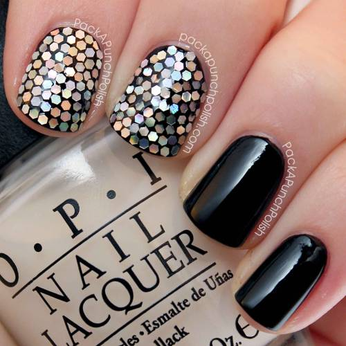 Glitter Placement! These were inspired by two fellow nail artists. Can you guess who? Tutorial: http://youtu.be/YdME084kWyc Blog Post: http://www.packapunchpolish.com/2013/01/black-and-silver-glitter-placement-nail.html