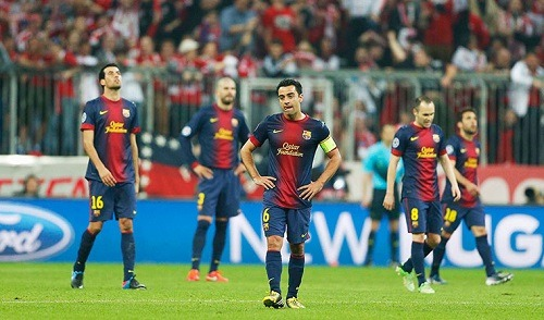 thebeautifulsoccer:  Shell-shocked Barcelona players.