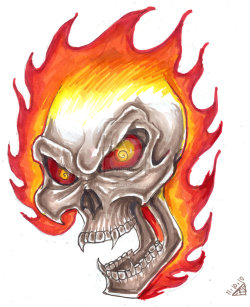 Flaming Skull Design by *rawjawbone