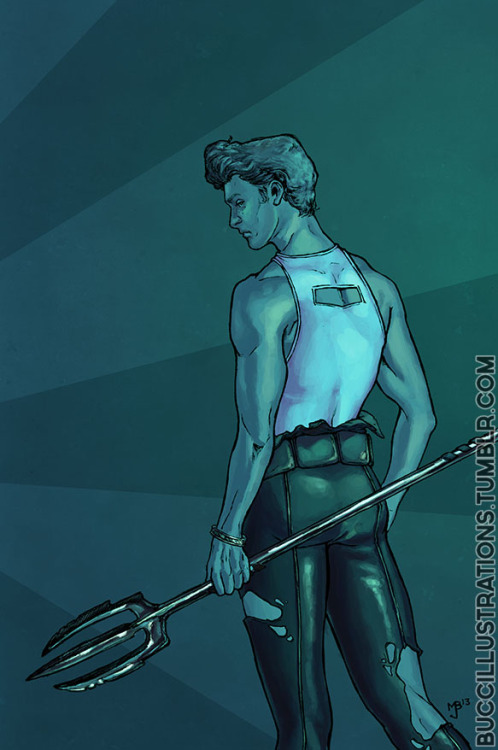 buccillustrations:  Finnick Odair, Quarter Quell. Pen & Ink, Photoshop CS6. May 2013.  Done as a companion to my Johanna Mason picture posted nearly a year ago.