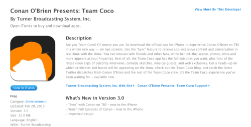 Update to Team Coco App Brings Full Episodes and Sync