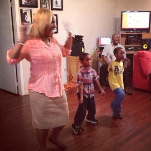 My Momma playing #justdance on the #xbox with the kids #family over everything #nobrakes