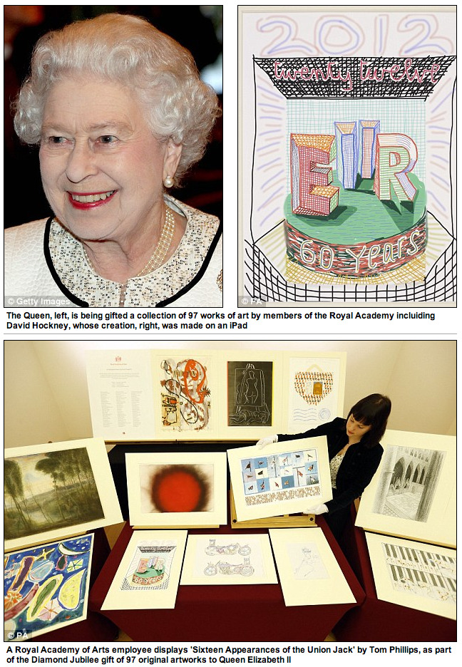 THE DAILY STORY   The Queen has been given a collection of 97 original works of art by members of the Royal Academy including David Hockney and Tracey Emin as a Diamond Jubilee gift.  Fortunately the monarch, who celebrated 60 years on the throne in June, has given the collection of Jubilee-inspired prints, drawings, photographs and works in oil, watercolour and mixed media, to the Royal Collection on behalf of the nation, who will display them at the Queen's Gallery at Buckingham palace next autumn. [Read more on Mail Online]