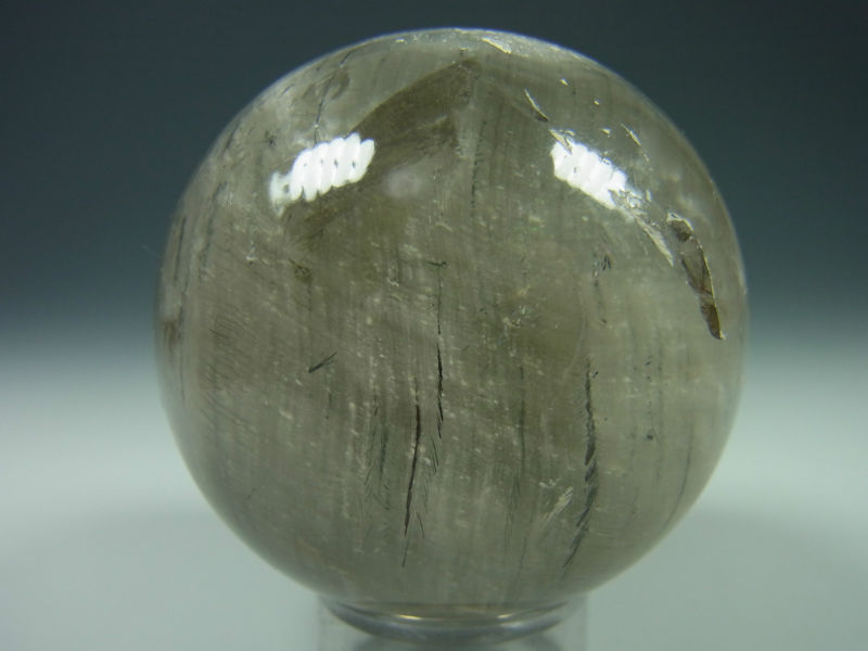 smoky quartz with tourmaline sphere