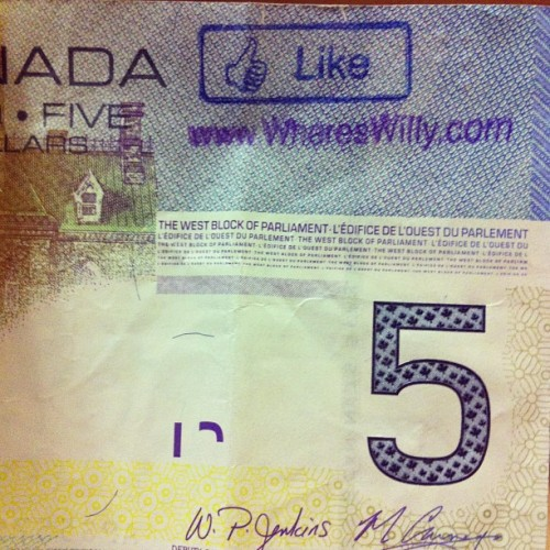 So cool! Got this bill and I went to the website and entered the serial number. Last and first person to register it was from Grasmere, BC in January! #bill #money #whereswilly #canadian