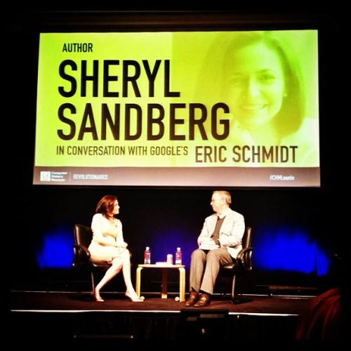 An evening about leaning in with @sherylsandberg and @ericschmidt. #CHMLeanin (at Computer History Museum)