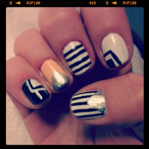 #nailart #nails #nail #art #design #white #black #salmon