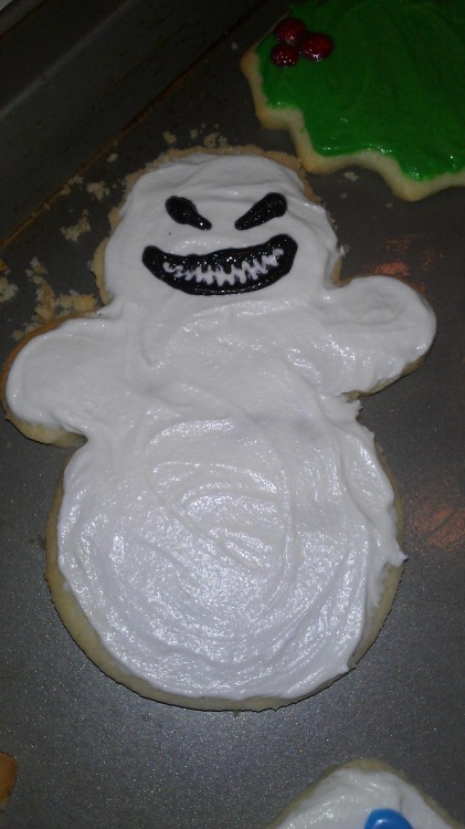 journalofnerdythings:  I decorated this cookie in honor of The Snowmen.  I can't wait to see it later!