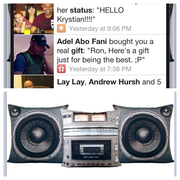 Man big up to the homie Adel Abo Fani out in California w/ the boombox pillow set… This ish look too official … Now I can listen to #dreamkiller while I'm sleep sheesh #OsOs #respect #doitforthepeople #nosleepnpartiestour