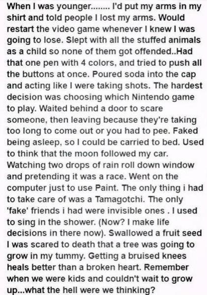 When I was younger…