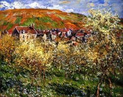 bofransson:  Plum Trees in Blossom at Vetheuil Claude Oscar Monet - 1879