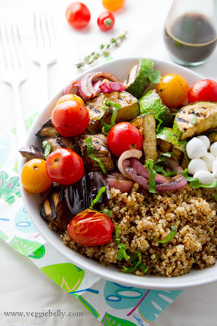 emigetsfit:  balsamic grilled summer vegetables with basil quinoa salad